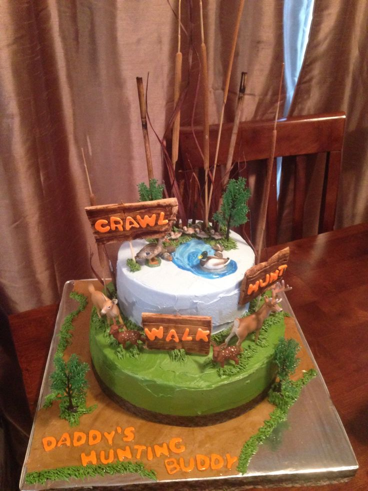 Hunting Cake Decor : Baby Shower Hunting cake Cake Decorating~I baked ...