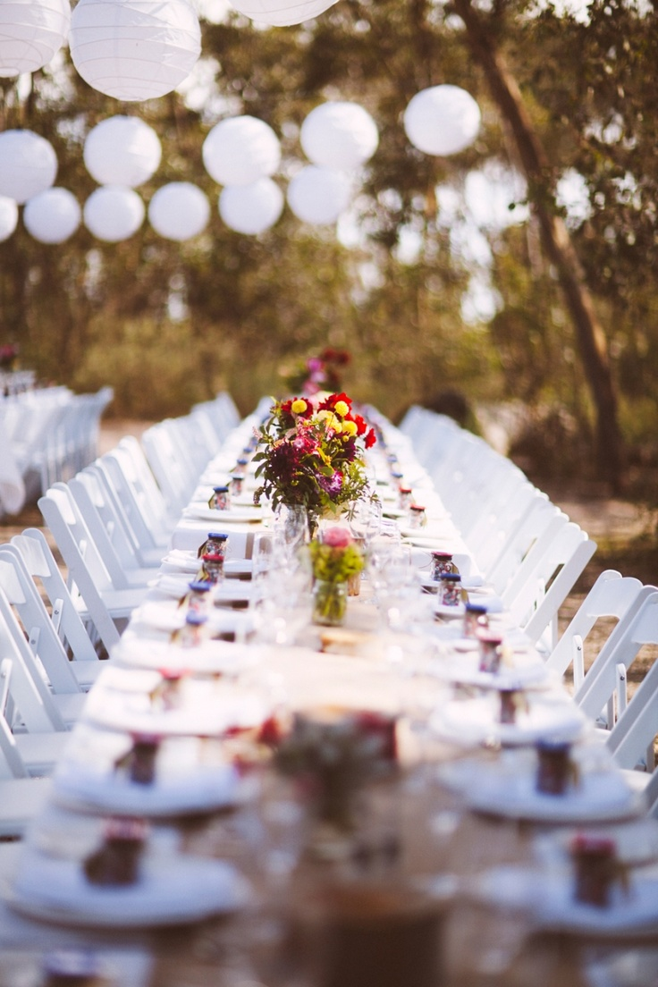 Great rustic outdoor wedding reception. Love the boiled sweets for favors too. I Got You Babe Wedding Photography