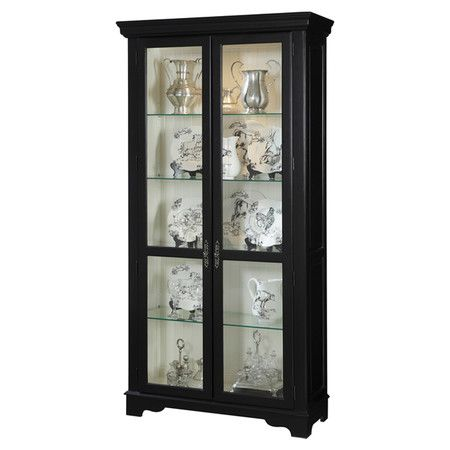 Black Finished Wood Curio Cabinet With 4 Adjustable Glass