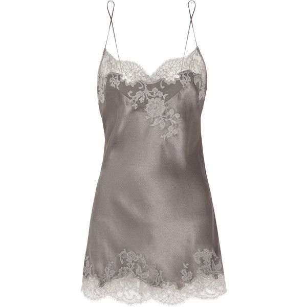 Carine Gilson Sonia lace-appliquéd silk-satin chemise (2.470 BRL) ❤ liked on Polyvore featuring intimates, chemises, lingerie, pajamas, sleepwear, chemise, underwear, camisoles and chemises, grey and lace lingerie