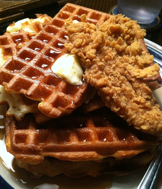 Twirl and Taste: BREAKFAST of CHAMPIONS - Insanely Great Waffles wrapped around Fried Chicken . . . the soul food addition to my Christmas Brunch Buffet