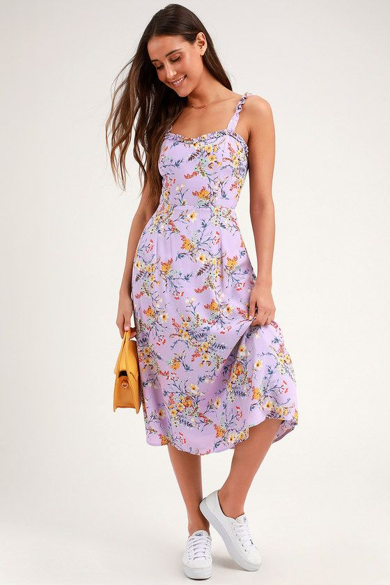 2df7ba9d8af0 The Lulus Sunny Meadow Lavender Floral Print Tie-Back Midi Dress makes a  sweet ensemble for any occasion! Femme and flirty ruffles accent the  slender, ...