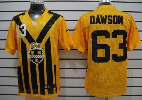 Men's Pittsburgh Steelers #63 Dermontti Dawson 1933 Yellow Throwback Jersey
