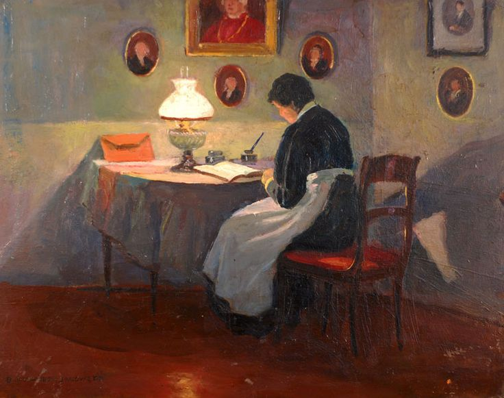 Inside the reading room of the woman. Bronislawa Rychter-Janowska (Polish, 1868-1953). Oil on cardboard. Bronisława left her husband, painter Tadeusz Rychter, in 1908 and relocated to Stary Sącz with her mother. She opened an art school, where she...