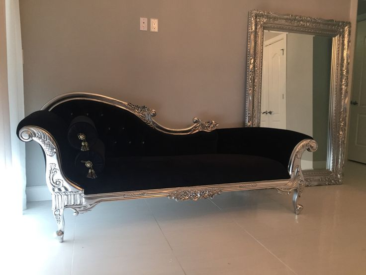 Queen anne 39 s revenge chaise black silver client photo for Black and silver chaise lounge