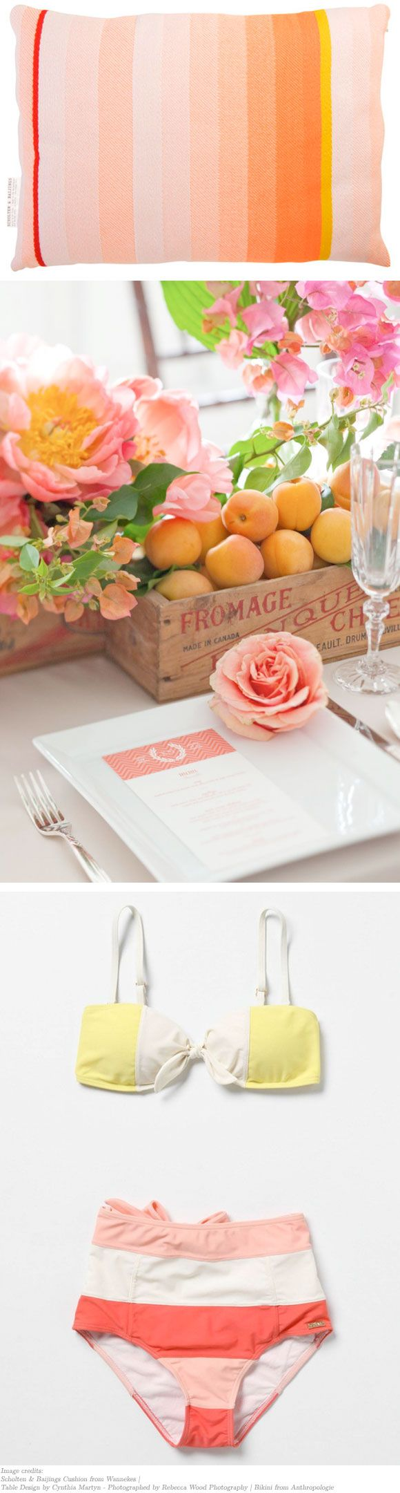 this might be too pastelly, but i like the colors. plus the simple cardboard/wood box with fruit and flowers would make a lovely tablepiece! i also really like the simple card and rose, you could put the menu orthe guest list or anything on that card and it keeps elegance simple :)