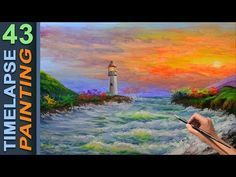 How to paint sea waves, light house, and sunrise.   Acrylic Painting Tutorial   43 SPEED ART - YouTube