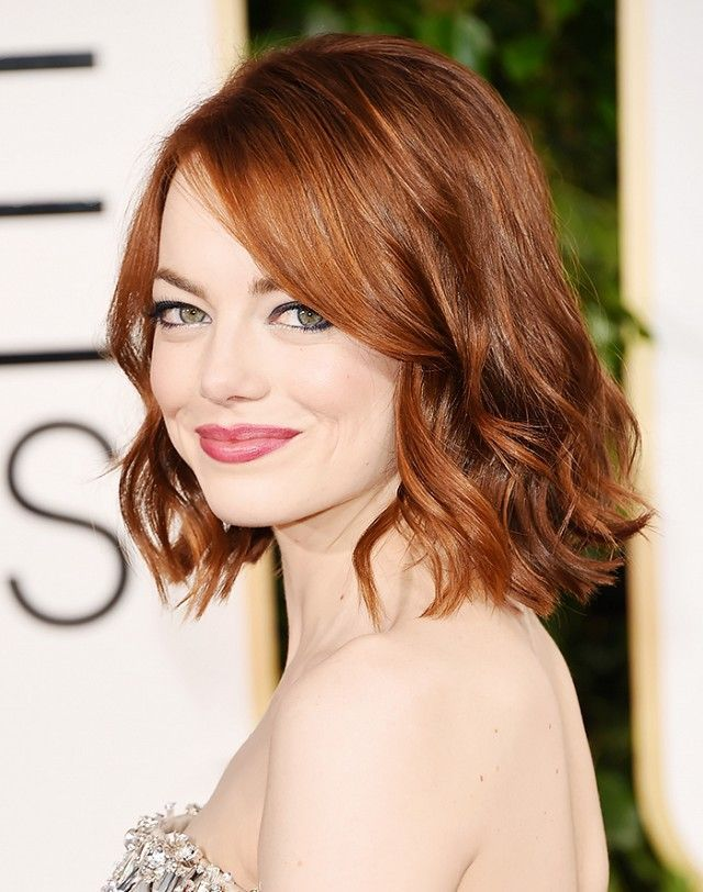A slightly angled lob that grazes the shoulder will add body and shape to your thin hair. Add side-swept bangs and feathery layers like Emma Stone, and you're gold. Keep scrolling for two...