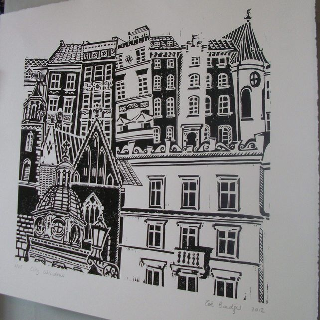 City Windows lino print ref 102