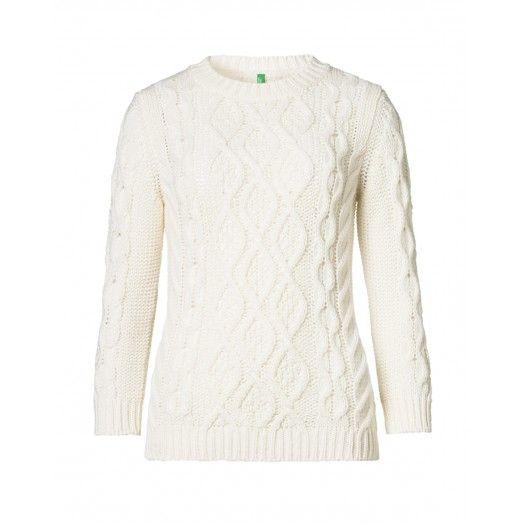 Pull col rond, en laine mélangée, manches longues avec mailles en losanges et tresses.