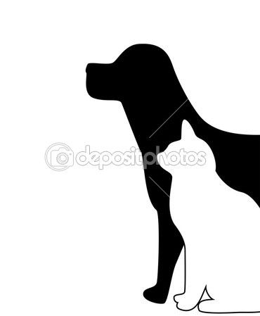 dog and cat silhouette.