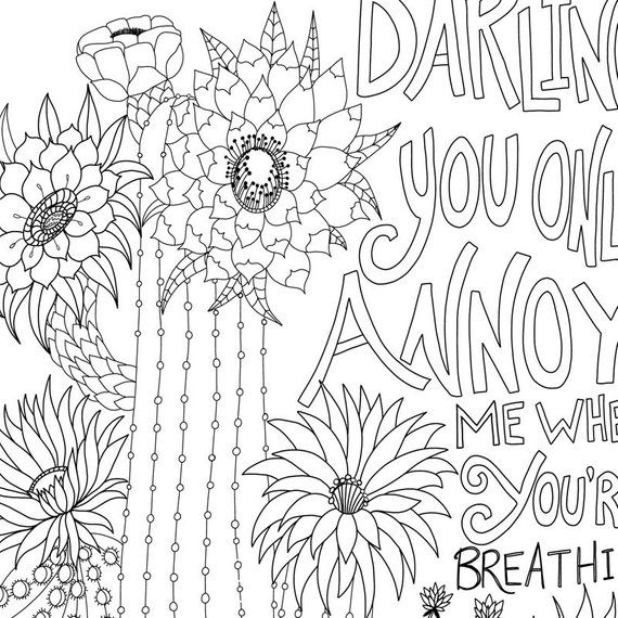 Cactus Colouring Page For Adults Wedding Anniversary Funny Etsy Coloring Pages Coloring Book Pages Etsy Humor