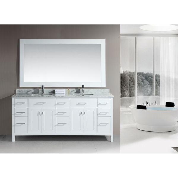 London 78-Inch Double Sink White Vanity Set - Overstock™ Shopping - Great Deals on Design Element Bathroom Vanities