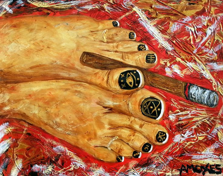 Smoking feet Acrylics on paper 11x14 inches