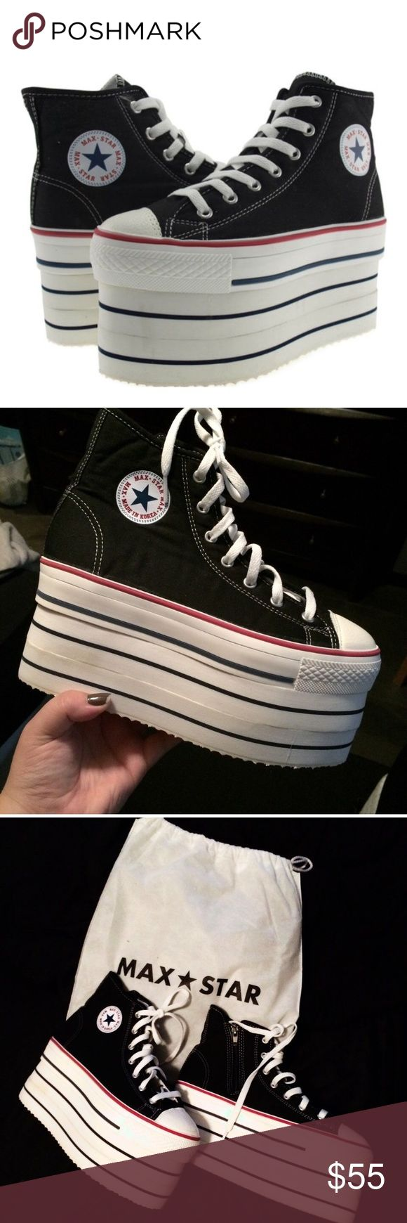 Max Star SUPER high platform sneakers size XL Max Star SUPER high platform sneakers I've never worn them.. Size XL between sizes (8.5-9) I'm a 9.5 and then fit perfect the platform is 3.4inches max star  Shoes Platforms
