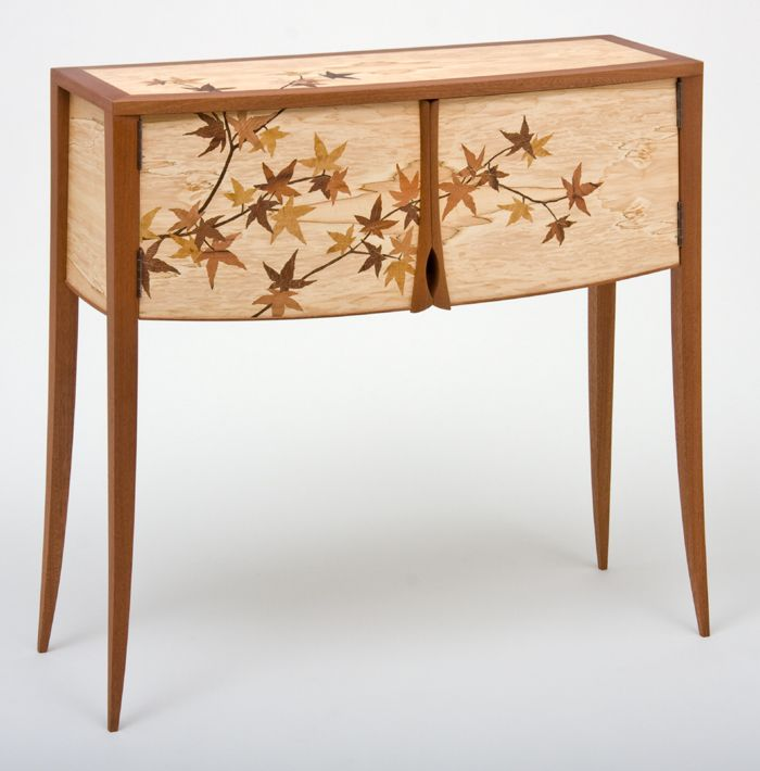 Japanese maple leaf marquetry cabinet ct fine furniture