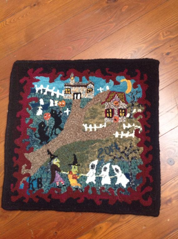 Primitive Hand Hooked Rug Halloween Witches Ghost Folk By N2Hookin