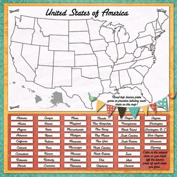 Map/License Plate game for Road Tripping - Two Peas in a Bucket