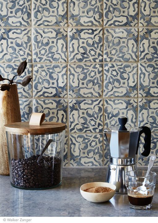 Imagine prepping your morning shot while looking at this beautiful tile. Duquesa Collection's Fatima Pattern in Mezanotte.