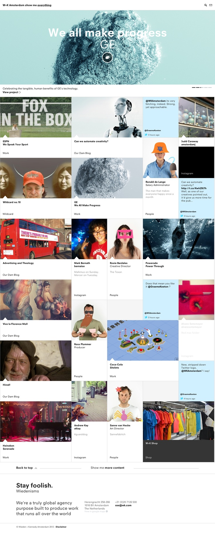 W+K Amsterdams website