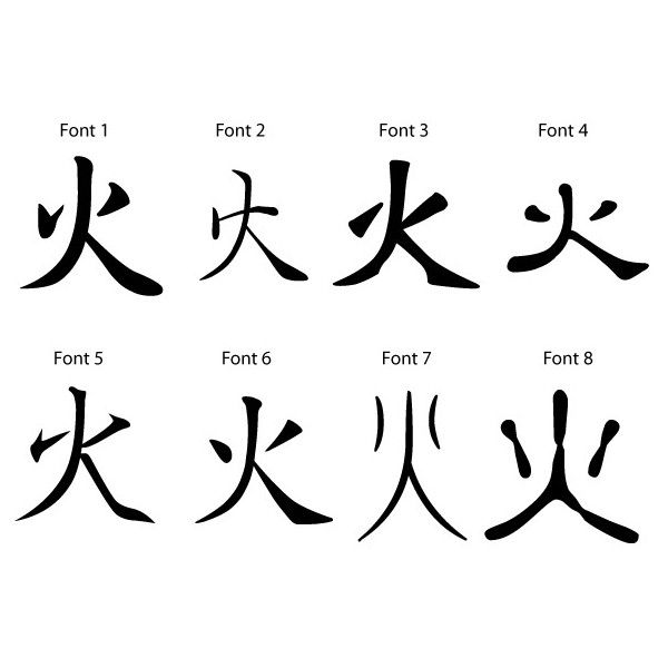 Free japanese kanji symbol for fire 10 found on Japanese calligraphy online