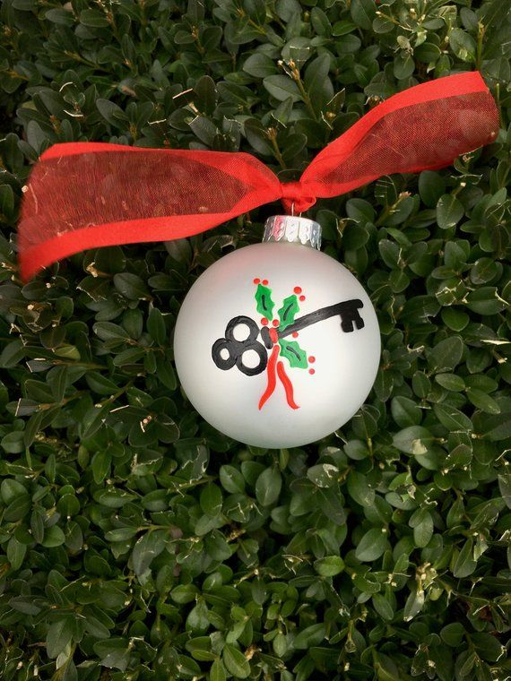 New Home Ornament Housewarming Gift First Home Key Personalized Hand Paint Painted Christmas Ornaments Christmas Ornaments Personalized Christmas Ornaments