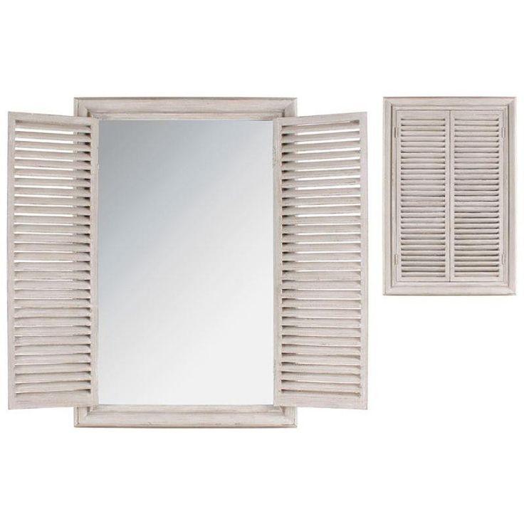 WOODEN WALL MIRROR/WINDOW IN BEIGE COLOR 64X5X94 - inart