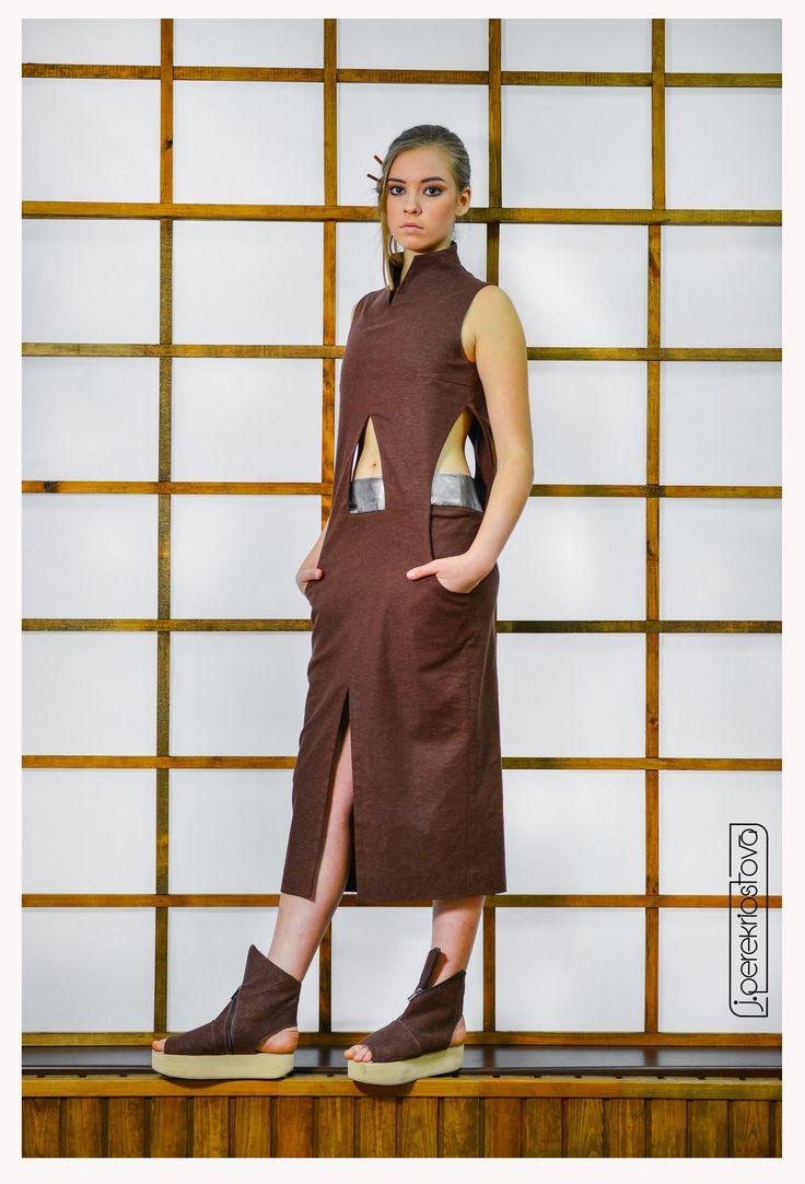 """Платье цвета """"шоколад"""" с боковыми вырезами - J.Perekriostova"""