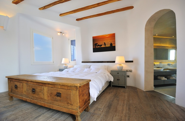 View of one of the bedrooms in luxury villa Aesara in Mykonos, Greece