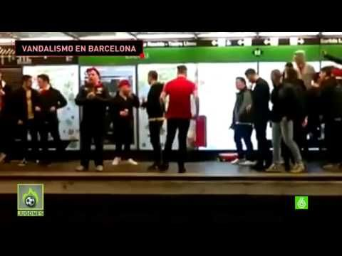 Spanish TV air more footage of Arsenal fans vandalising the metro in Barcelona (Video)