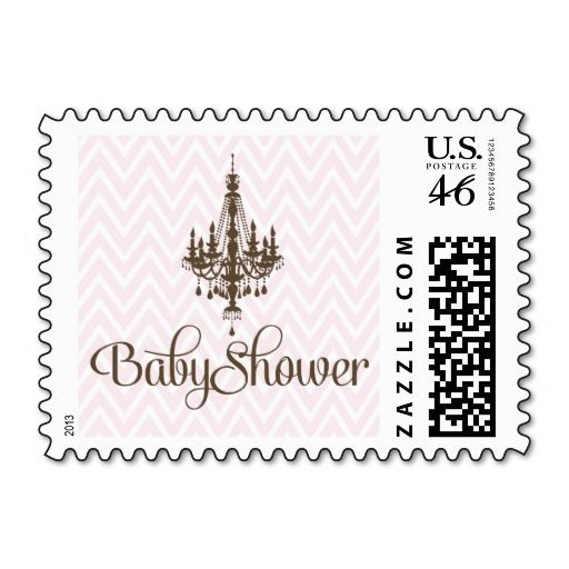 Pink Elegant Chandelier Baby Girl Shower Stamps