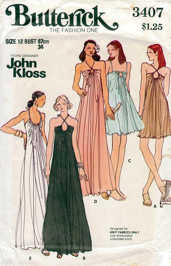 1970s Keyhole Halter Dress Designer John Kloss by BessieAndMaive, $14.00