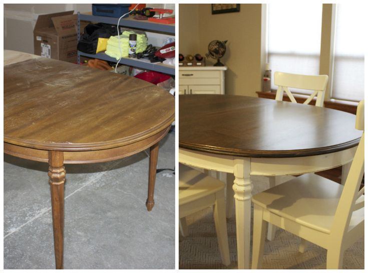 Table Before After - Refinish Kitchen Table