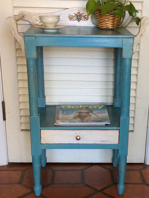 Vintage Blue Nightstand/ Wash Stand 1930s by RevisitedConcepts