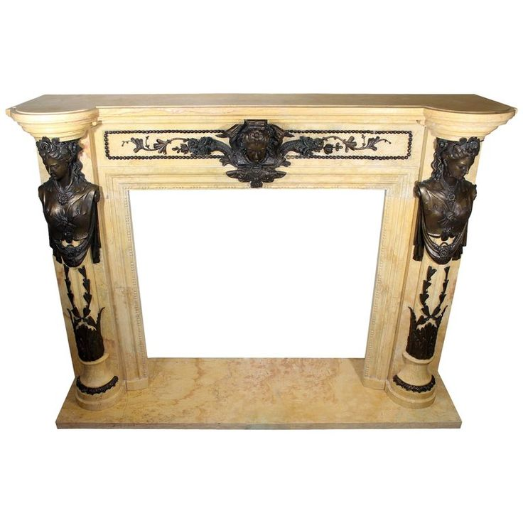 Regency Style Egyptian Marble Fireplace Mantel With Bronze Ornaments