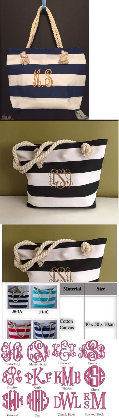 Bridal Handbags And Bags: Navy And White Beach Tote Bag Wedding Summer Overnight Shopping -> BUY IT NOW ONLY: $19.99 on eBay!
