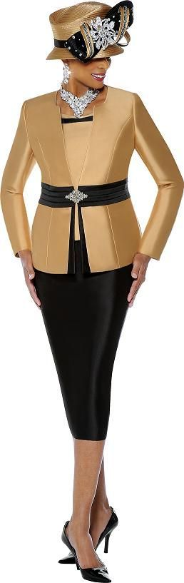 Susanna 3568 Womens 2 Tone Church Suit - French Novelty