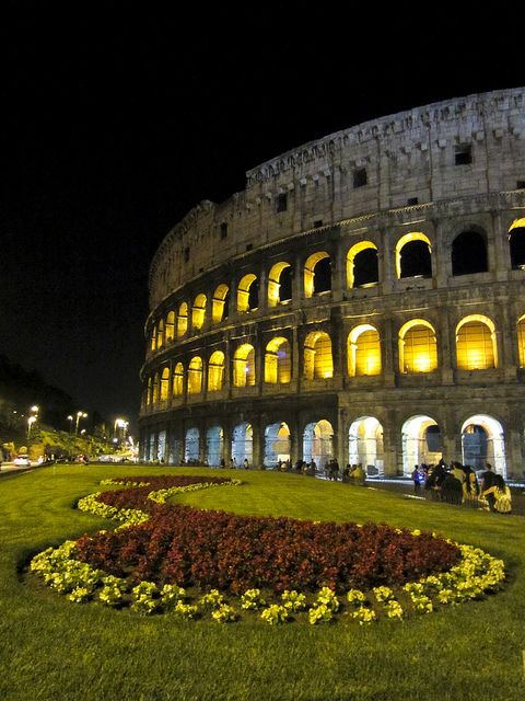 Visiting Rome's Collesium one May night.  The nice thing about visiting Rome on your own instead with a tour is that you can spend as much time as you want at places. Plus you can visit many of the ruins at night; something I highly recommend. Since Rome is even more magical at night in my opinion.
