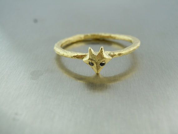 Black Diamond Fox Ring gold by KCDbyKyleChan on Etsy