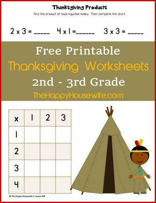 Free Printable Thanksgiving Worksheets for 2nd-3rd Grade at The Happy Housewife