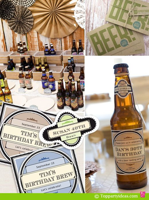 Beer Tasting Birthday Party with Personalized Beer Label for guest of honor, vintage style Beer invitations and various beer label options