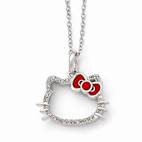 9 best hello kitty necklaces images on pinterest enamels hello hello kitty diamond silhouette necklace is made of sterling silver and red enamel pendant size mozeypictures Gallery