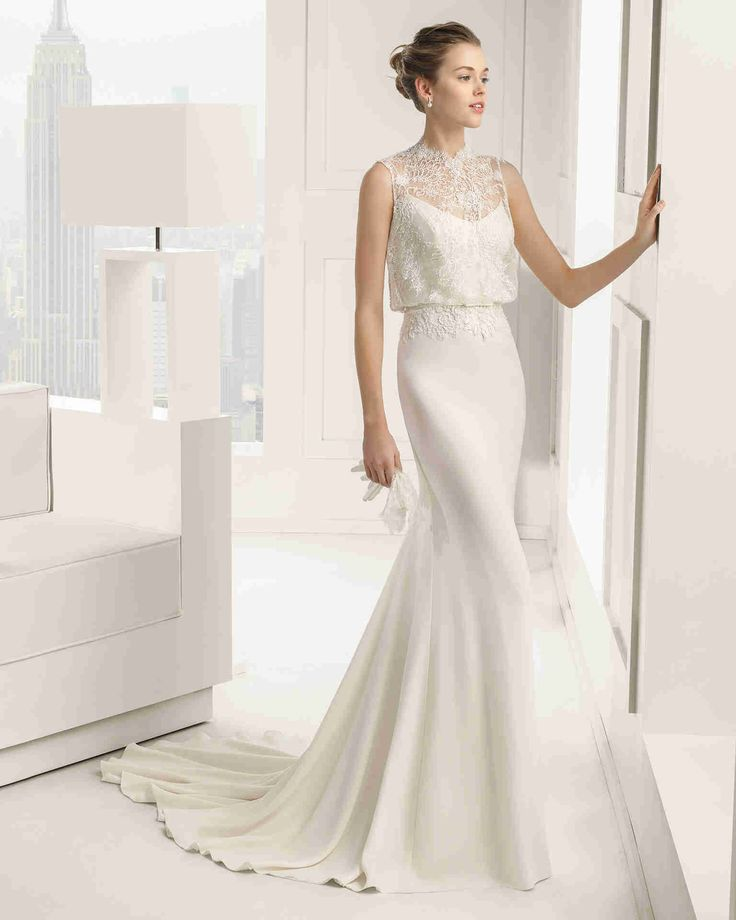 Nice Illusion Sleeveless Sheath Column Wedding Dress Aro0091