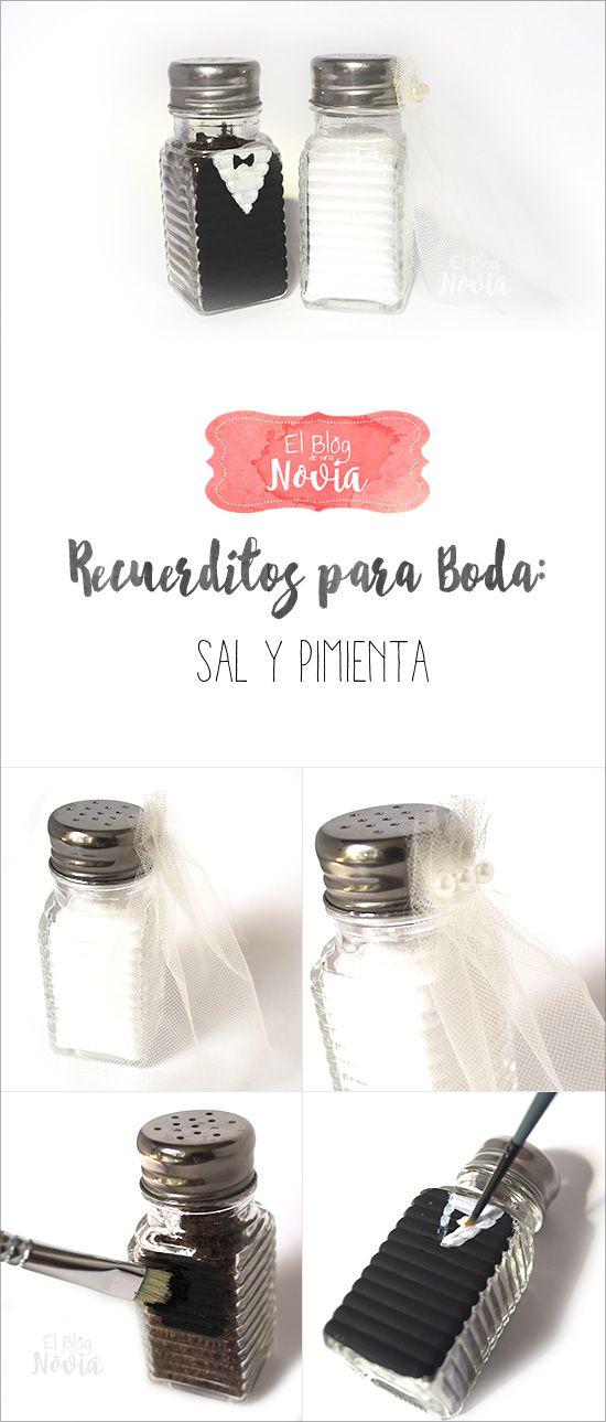 DIY Sal y Pimienta de Novios como recuerdo de boda | Recuerditos para la Boda DIY | El Blog de una Novia | #boda #regalos #invitados