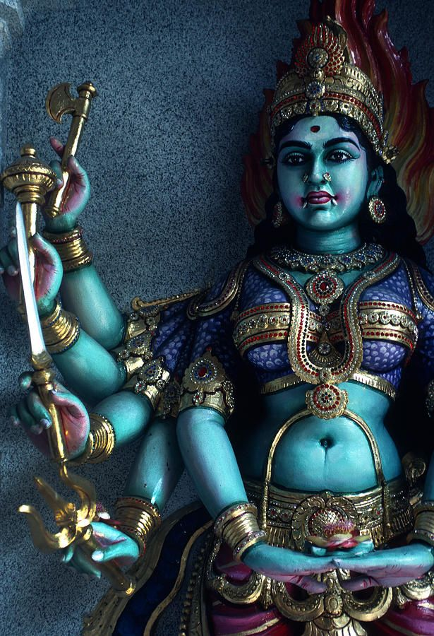 Hindu Goddess Kali On Hindu Temple Canvas Print / Canvas Art by Carl Purcell