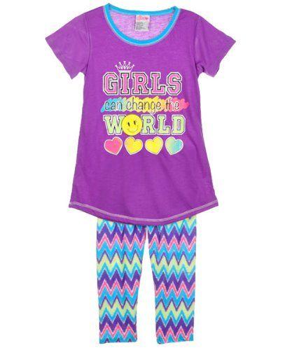 "Sweet n Sassy ""Girls Can Change the World"" 2-Piece Pajamas (Sizes 7 - 16) $7.99"