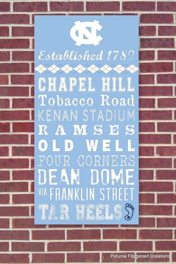 UNC (North Carolina) Painted Wood Sign / Word Art ~ LOVE that my heels use argyle...