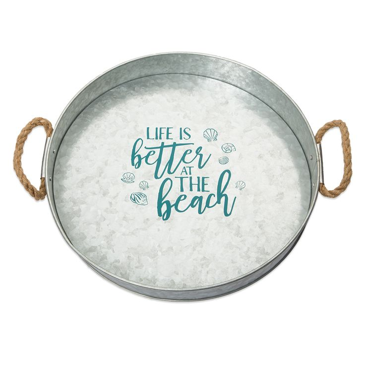 Galvanized Metal Serving Tray, Life is Better At Beach