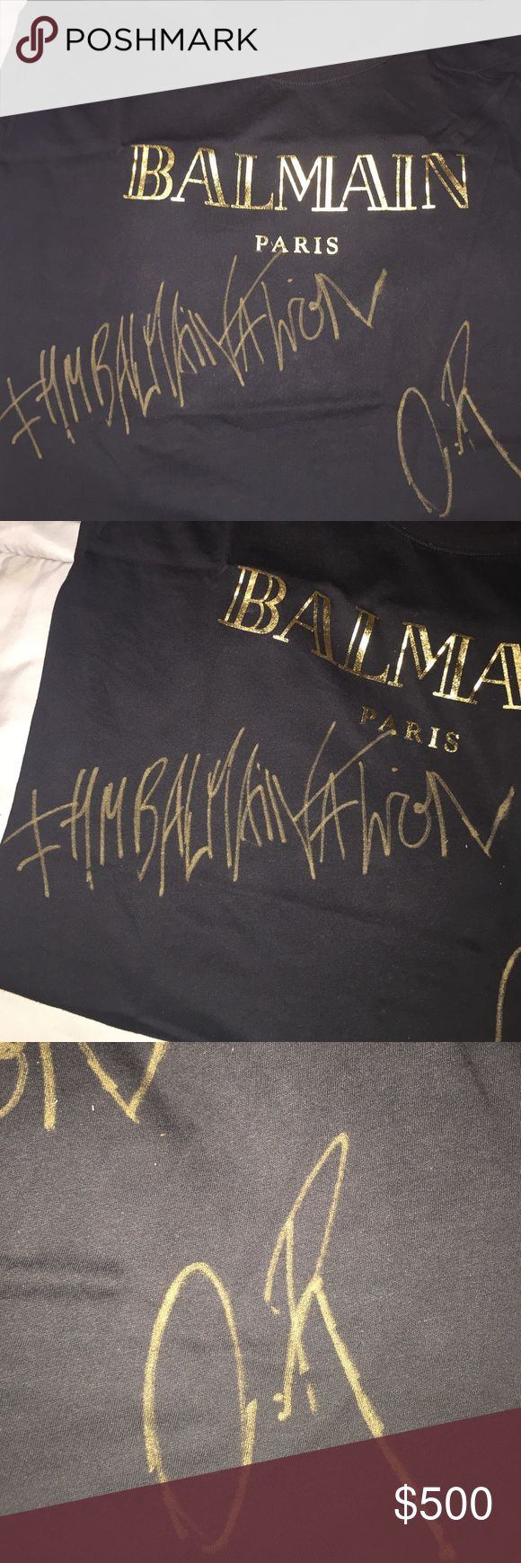 BALMAIN t-shirt signed by Olivier Rousteing Won the H&M & BALMAIN collaboration contest. Shirt is from their new line. Black shirt with gold BALMAIN Paris. #HMBALMAINATION Signed O.R (Olivier Rousteing) Balmain Tops