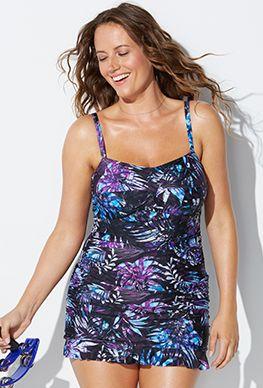 6654f56baaa0f Bedrock Crossover Ruffle Swimdress | Swimsuits | Swim dress ...